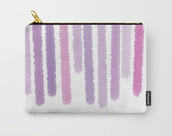 Purple Striped Carry All Pouch - Toiletry Bag - Make-up Bag- Paint Look Purple Stripes -  - Change Purse - Organizing Bag - Made to Order