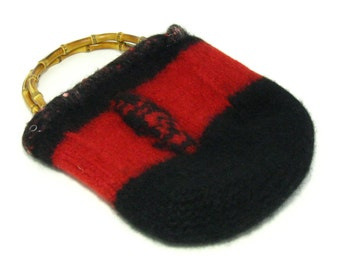 Sale! FELTED WOOL PURSE / Red & Black / (Ooak) / Hand-Knit / Lined / with Bamboo handle / from pcycled Red and Black Hand-knit #040