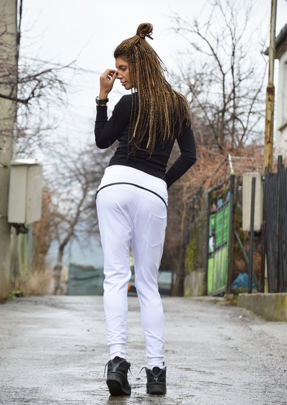 Extravagant Casual Pants Pants Loose Pants leggings White Harem by Crotch Drop SSDfashion Pants Cotton zipper BSrtS