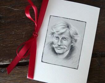Double Jean Ferrat Carte illustration reproduction portrait of Jean Ferrat + Ribbon