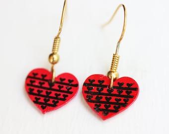 Painted Heart Earrings, Red Heart Earrings, Heart Dangle Earrings