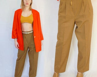 Tan extra high rise tapered trousers with long inseam 1990s 90s VINTAGE