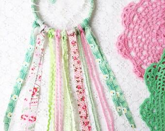SALE Baby Girl Room Decor, Green & Pink Love Catcher, Shabby Chic Lace Dream Catcher, Nursery Decor, Baby Shower Gift
