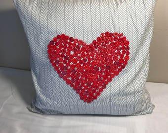 Button Heart Pillow Cover