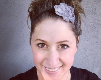 Grey Flower headband, flower headband , adult headband, grey,