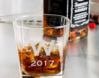Monogram/Date Whiskey Glass/Engraved Rocks Glass 9.25 oz. custom whiskey glass, engraved whiskey glass, personalized whiskey glass