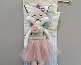Katie ballerina - handmade doll in pink dress and tutu