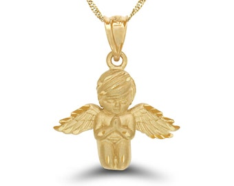 """14k solid gold praying angel pendant with 18"""" solid gold chain. angelic jewelry, angel jewelry."""