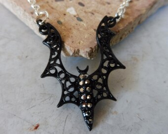 Bat Necklace, Goth Necklace, Halloween Necklace, Crystal Bat Necklace, Black Bat Necklace, Costume Necklace, Gift Idea, Gift for Her