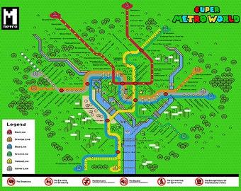 Dc metro map etsy mario super metro world washington dc metro map nintendo themed illustration video games gumiabroncs Choice Image