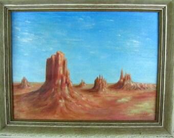 ORIGINAL PAINTING, desert scene,oil painting,monument vally,Vintage Painting, Folk Art, German, framed art