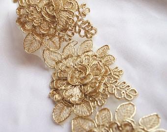 gold cord lace trim, gold alencon lace trim 3D rose