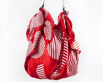 Free Shipping Worldwide / Dots furoshiki bag (rust) & Tan leather strap set