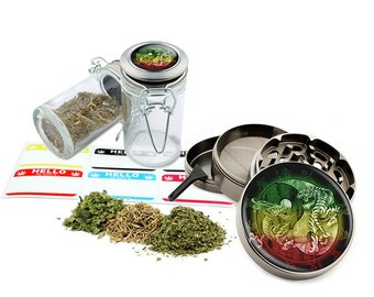 "Yin Yang - 2.5"" Zinc Alloy Grinder & 75ml Locking Top Glass Jar Combo Gift Set Item # G022115-043"