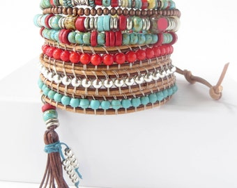 Bohemian Jewelry Bracelet, Beaded Tassel Bracelet, Southwestern Jewelry, Boho Wrap Bracelet for Women Mothers Day Gift for Her Wrap Bracelet