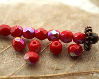 Berry Luster, 4mm Beads, Czech Beads, Beads