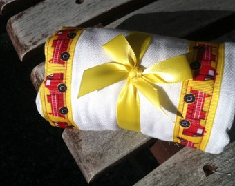 Burp Cloth / Changing Pad: My Pretty Burpy Fire Trucks on Yellow, Personalization Available