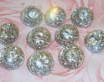 17mm Acrylic Rhinestone Buttons (10 pcs) - wedding / hair / dress / garment accessories