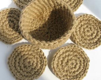 Jute Coasters / Mugs Mat / Cup Mat / Crochet Rustic Coasters / a Set of 6 and a storage basket