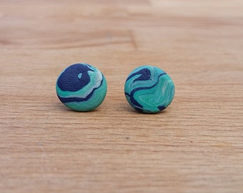 Blue and green polymer clay marble-effect stud earrings