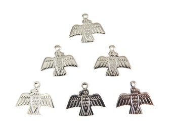 Rhodium Plated Native American Eagle Charms (8X) (M521-B)