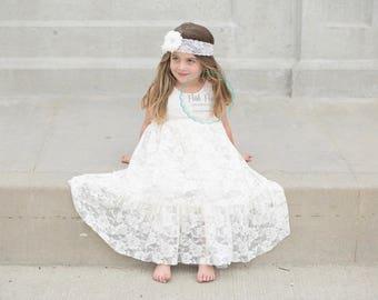 ivory flower girl dress lace, lace girl dress in ivory, flower girl dresses, toddler flower girl, baby girl dress, ivory dresses, rustic