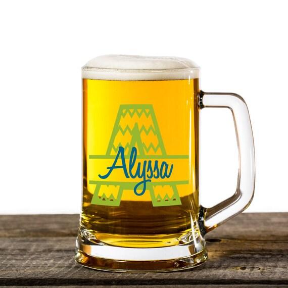 Monogram Name Beer Mug 21st Birthday Gift For Daughter