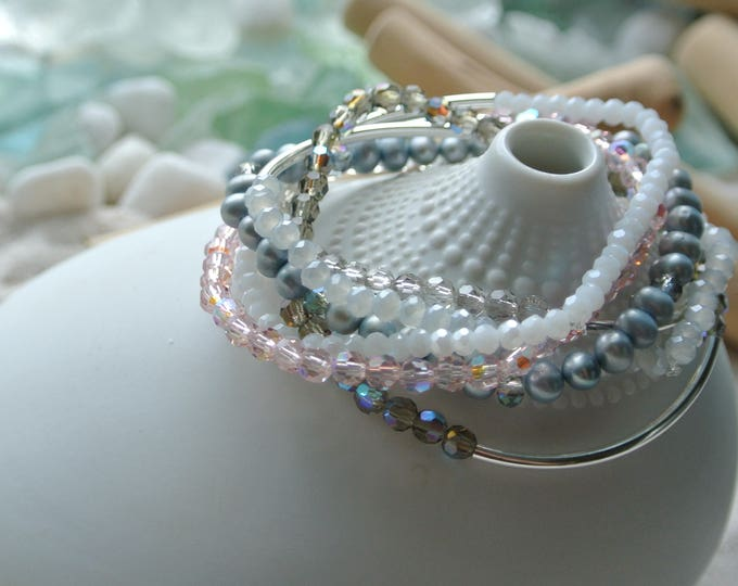 Featured listing image: Pink Gray and White Crystal and Pearl Stretch Bracelet Stack