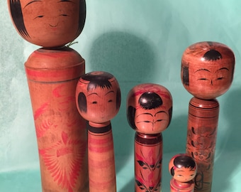 Collection of Kokeshi Dolls