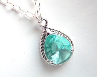 Aqua Necklace, Glass Necklace, Sterling Silver, Erinite, Soft Green, Blue, Wedding, Bridesmaid Necklace, Bridal Necklace, Bridesmaid Gifts