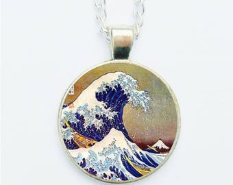 Oriental Landscape Pendant Necklace / Earrings / Ring / Pin Badge Asian Japanese Ocean Wave Woodblock Style Handmade Jewellery Jewelry