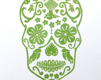 kiwiana nz sugar skull ltd edition lino print - green
