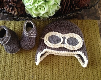 Little boys hat and booties set, brown aviator hat and brown booties for boys, gift set, photo props