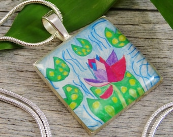 Wear Your Child's Artwork - Custom Necklace - Silver Plated Resin Square Pendant - Personalized Jewelry
