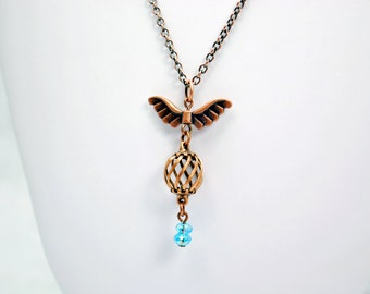 Uncaged Bird Necklace in Antique Copper with Blue Sky Beads - Bird Wings Necklace, Bird Cage Necklace, Fly Away Necklace, Freedom Necklace
