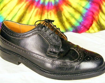 8.5 D mens vintage black leather Executive Imperials wing-tip longwing oxfords shoes