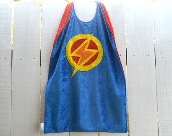 Super Hero Cape BLUE and RED - Lightning Bolt - Birthday Cape - Halloween Costume - Kid Costume