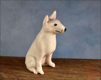 ceramic Bull Terrier Dog Figurine porcelain Hand sculpted ooak pit ooak dog sculpture dog art by Anita Reay on Etsy