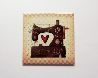 Magnet for sewer, Sewing magnet, Gift for sewer, Fridge magnet, Gift for sewer, Gift for her, folk art, retro, gift for quilter (7209)
