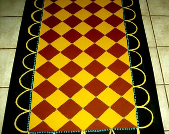 FLOORCLOTH  Country Primitive Decor  hand painted rug