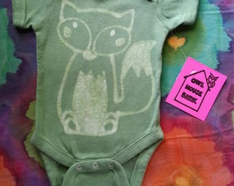 Newborn Batik Green Fox Onesie