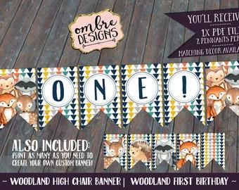 Woodland Highchair Banner, Woodland First Birthday, Woodland Birthday Decorations, Matches Woodland Invitation + Party Decor, Woodland Print