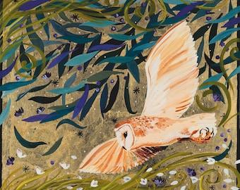 Bright eye barn owl, Canvas print