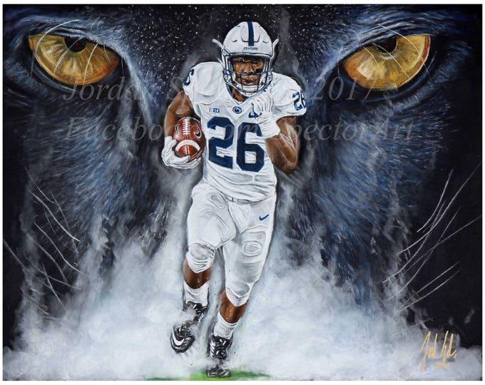 "Penn State Saquon Barkley ""A Lions Bark"" Art Print"