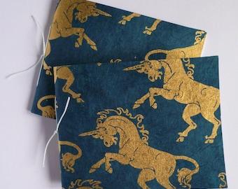 Unicorn notebooks, set of notebooks, blank books, golden unicorns, pocket books, small notebooks, unicorns