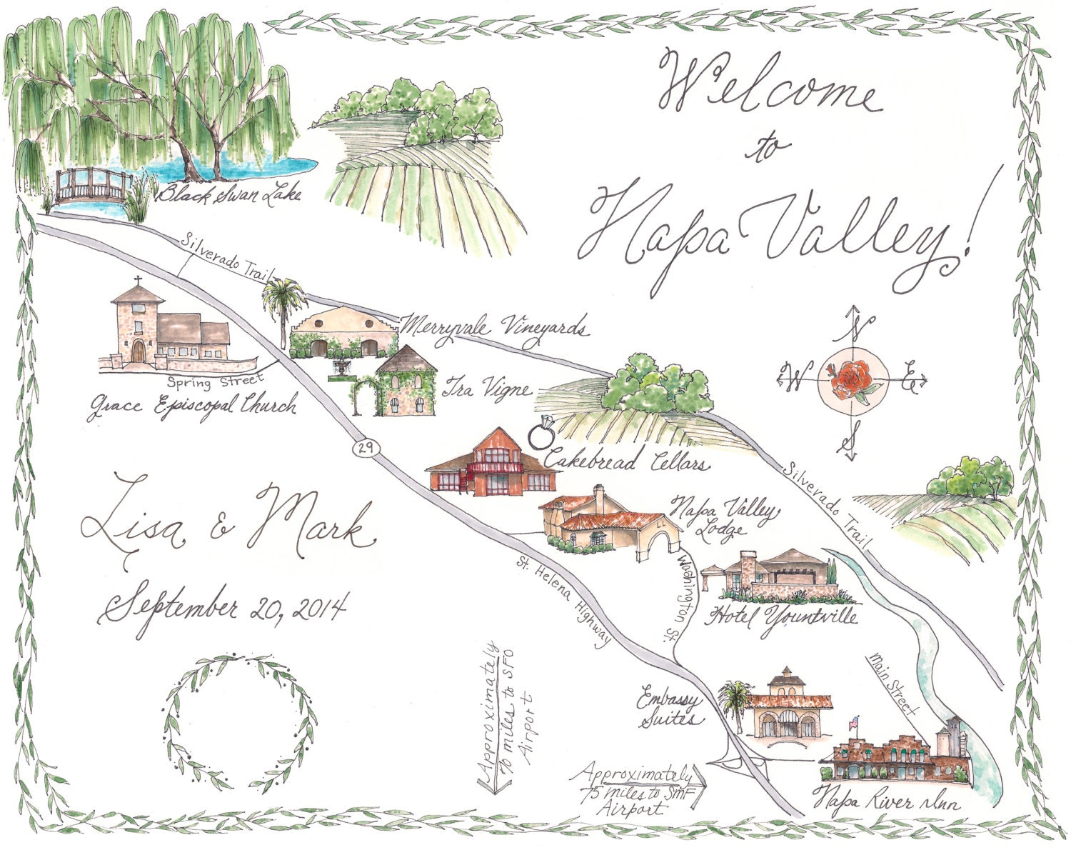 Napa Valley Custom Wedding Map Illustrated Napa Map Black