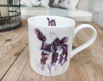 Cow English bone china mug with original dairy cow art design screen printed in Cornwall, Christmas gift