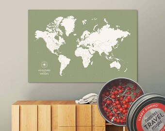 Push Pin Map (Moss) Push Pin World Map Pin Board World Travel Map on Canvas Push Pin Travel Map Personalized Wedding/Anniversary Gift