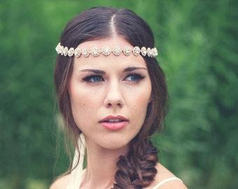 Rose Gold Headband,Boho Chic Rose Gold Halo Exotic Wedding Halo, Rose Gold Crystal Wedding Bridal Headband,  Wedding Wreath