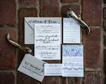 Beach Wedding Invitation Suite - Letterpress Design & Printing